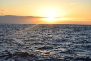 A picture of a sunset at sea